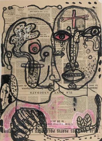 10_Le couple du Figaro, 1974, encre sur papier journal, 59,5 x 43 cm