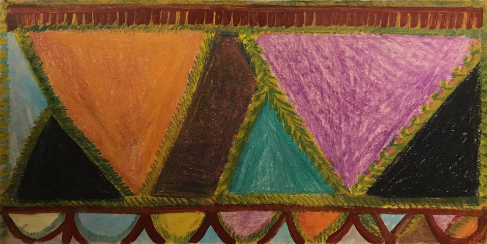 10_Drapeau, 1966, crayon gras et huile sur carton marouflé sur toile, 37 x 68 cm