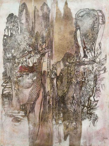 10_Les aspects de l'homme merveilleux, 2005, mine de plomb, aquarelle et peinture laque sur papier Arches, 76 x 57 cm