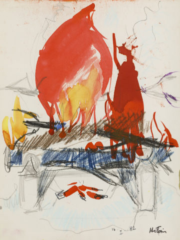 11_Jean Hélion, Sans titre, 1982, crayon et peinture diluée sur papier, 31 x 23 cm