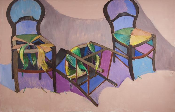 12_Drame en trois chaises, 1979, acrylique sur toile, 130 x 195 cm