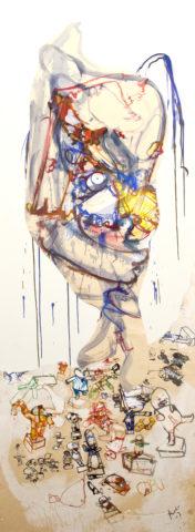 12_Sans titre, 2003, Peinture, découpage et collage sur toile, 230 x 80 cm