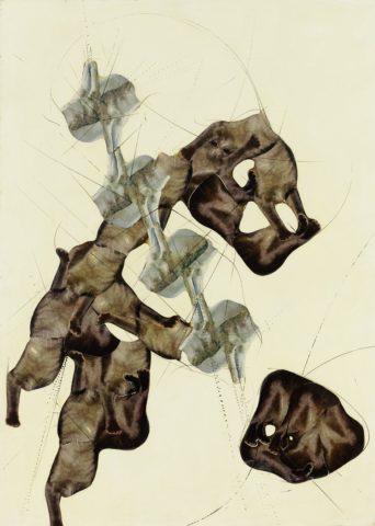 13_1959-1960, Louchakoupé, papiers choisis, fragments d'illustrations de revues découpés et collés sur contreplaqué peint avec rehauts de peinture, 120 x 90 cm