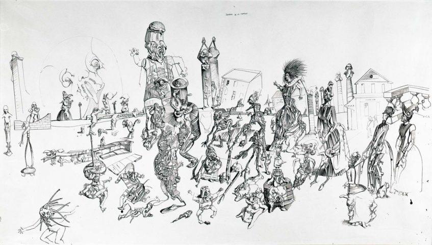 13_Dado, Journal de la famille, 1969, encre de Chine sur papier, 85 × 150 cm.