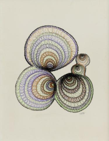 14_1961, Dessin de spirales, encres à la plume sur papier, 65 x 50 cm