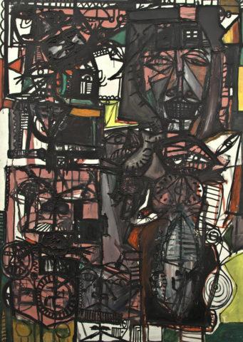 1_1962, Michel Macréau, La Femme dans l'antichambre, huile sur toile, 160 x 115 cm