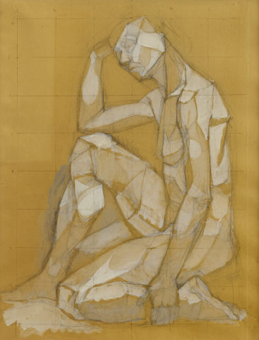 1_Bernard Réquichot, Sans titre, 1952, crayon avec lavis de gouache sur papier ocre, 56 x 44 cm