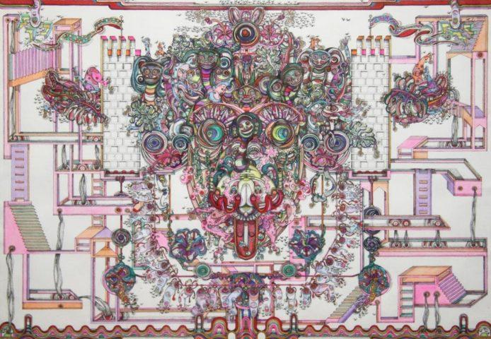 1_Hypnose-volatile-2015-encre-de-Chine-et-gouache-45,5-x-61-cm