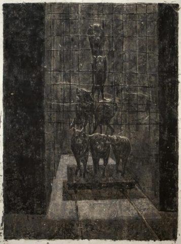 1_Les loups, 2010, Monotype à l'encre, 120 x 80 cm