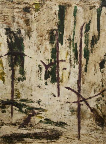 1_René Laubiès, Sans titre, 1953, huile sur papier marouflé sur Isorel, 67 x 50 cm