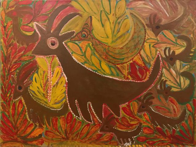 1_Troupeau de chamois en montagne et leur gardien le coq de Bruyère, 1965, Ripolin sur carton, 78,5 x 105 cm