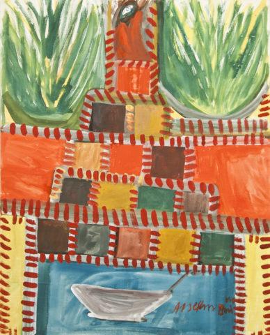 2_Anselme Boix-Vives, « Un château dans la mer », 1962, gouache sur papier Vélin blanc, 65 x 50 cm