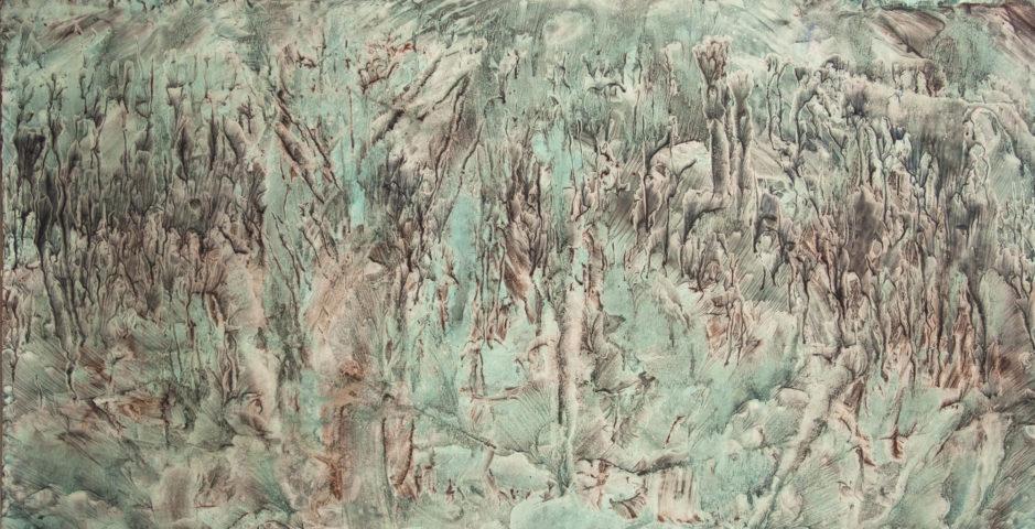 2_Hong Insook, Trace, 2013, gouache et encre de Chine sur papier, 104 x 200 cm