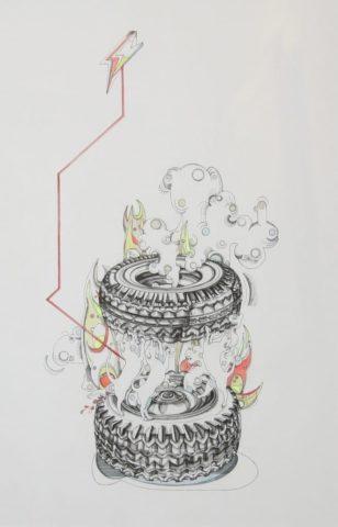 2_Incendies-3-2016-encre-de-Chine-et-gouache-sur-papier-495-x-32-cm
