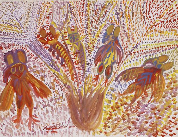 3_ABV, Les Mouches, 1962 Gouache sur papier Canson blanc 49,8 x 64,9 cm