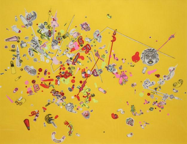 3_Clara Fierfort, Eclats 4, 2017, encre de Chine, gouaches, impressions lasers, monochromes noirs sur papiers colorés, colle de montage, 36 x 29,7 cm