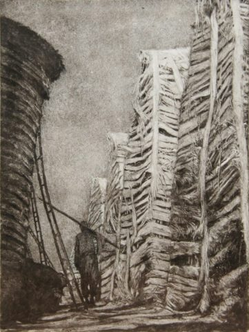 3_Couloir, 2017, Monotype, 26 x 17,5 cm