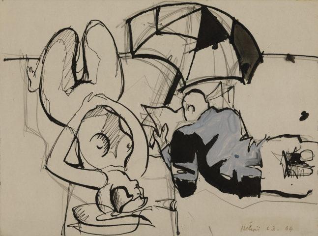 3_Jean Hélion, Nu d'Amagensett, 1944, aquarelle et encre, 22 x 30 cm