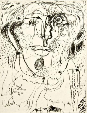 3_Michel Macréau, Visage, 1963, encre de Chine sur papier, 31,5 x 24 cm