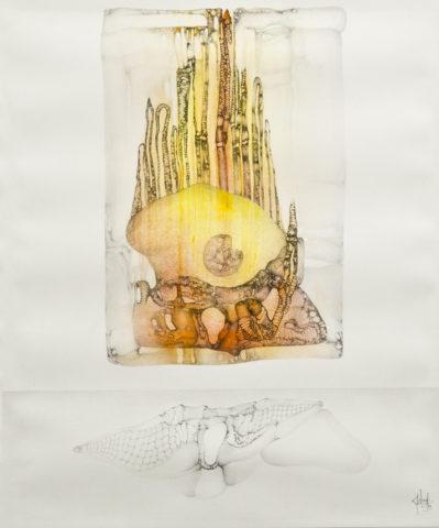 4_« Sperme coloré », 1973, Mine de plomb et aquarelle sur papier, 44 x 37,5 cm