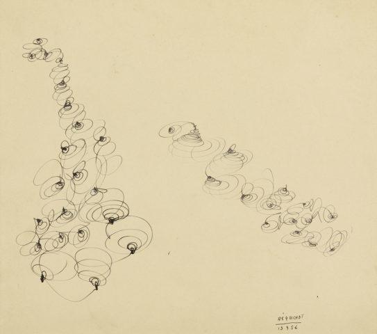 4_Bernard Réquichot, Sans titre, 1956, encre sur papier ocre, 30 x 26,5 cm