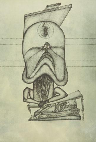 4_Le veilleur, d'après Fred Deux, 1971, gravure, 49,8 x 34,3 cm