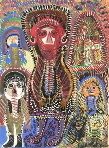 5_Anselme Boix-Vives, Un curé lunaire et ses enfants de choeur, 1963, gouache sur papier, 90 x 69 cm