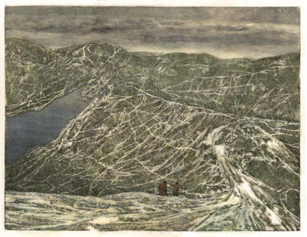 5_L'échappée, 2018, monotype et aquarelle, 21 x 29,7 cm