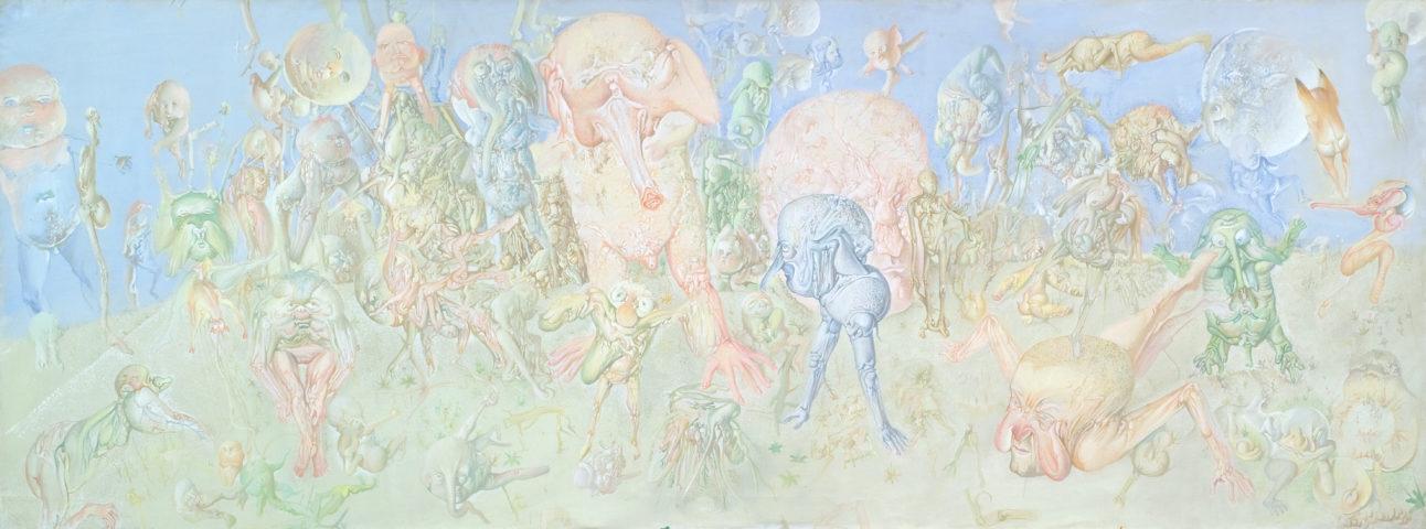 5_Les éléphants, 1965, huile sur toile, 97 x 260 cm