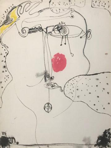 5_Michel Macréau, Visage, 1963, Fusain et gouache sur papier, 65 x 50 cm