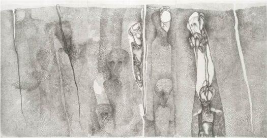6_Les survivants, 1983, triptyque, mine de plomb sur papier, 103 x 198 cm