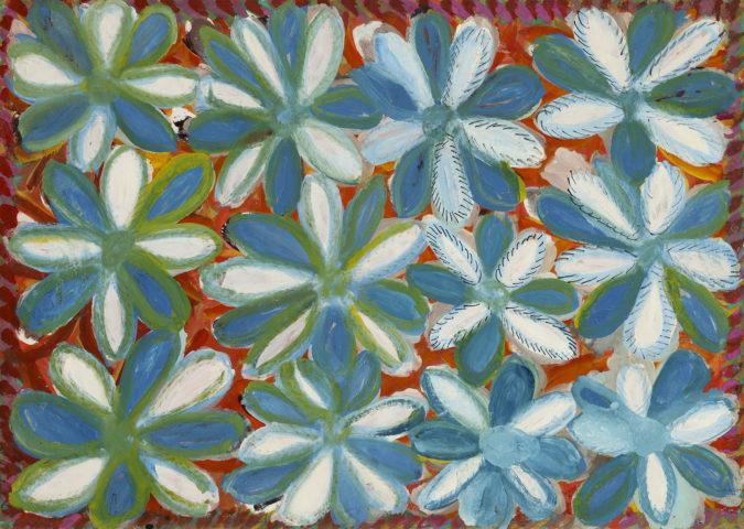 7_Anselme Boix-Vives, Fleurs bleues et blanches, 1965, ripolin sur carton, 50 x 70,5 cm