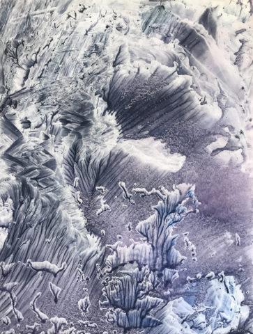 7_Hong InSook, Trace, 2020, gouache et encre de Chine sur papier, 64,5 x 50 cm 1