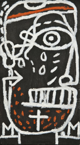 7_Michel Macréau, 1965, « Portrait », huile sur toile, 32 x 18 cm