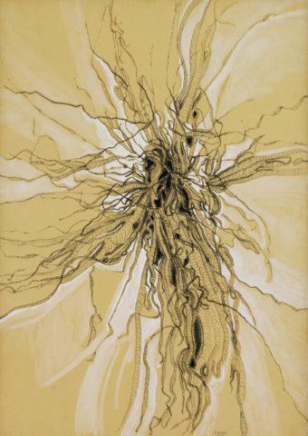 8_Bernard Réquichot, Sans titre, 1957, encre à la plume sur papier ocre avec rehauts de gouache, 75 x 55 cm