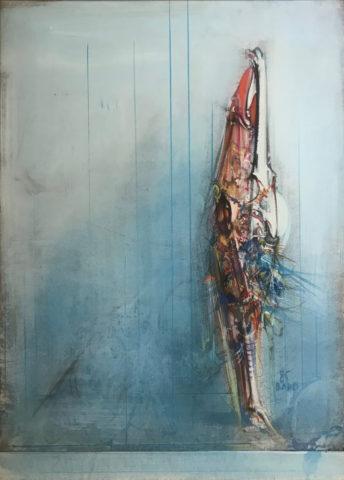 8_Sans titre, 1985, huile sur papier marouflé sur toile, 72,5 x 52,5 cm