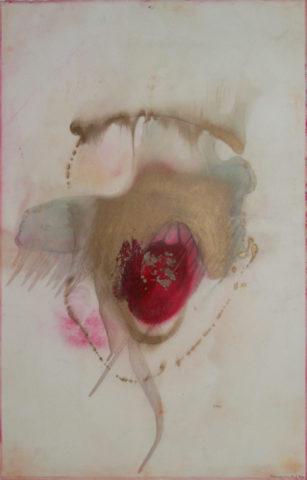 9_« L'apparition du 7 mars », 2003, mine de plomb, aquarelle et peinture dorée sur papier, 104,5 x 70 cm