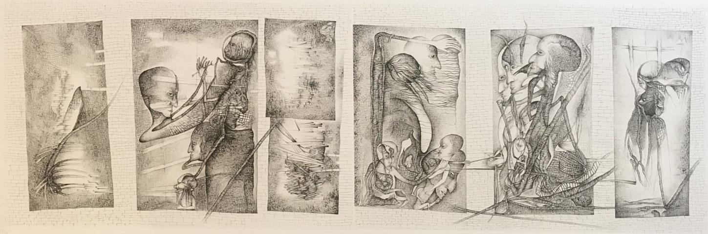 9_Cécile Reims, Les 7 portes (d'après Fred Deux), gravure, 32,5 x 100 cm - 47:50