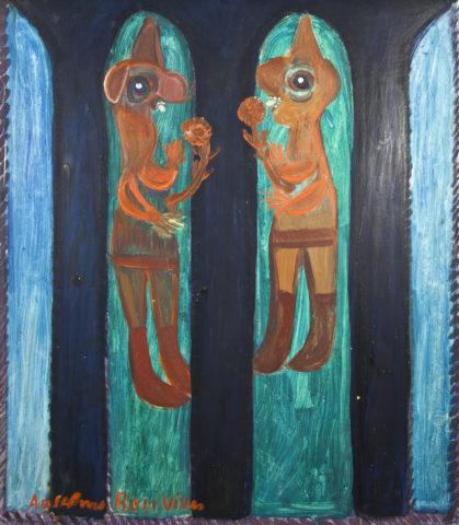 9_Vitrail avec deux personnages, 1967, huile sur carton, 67,5 x 59,5 cm