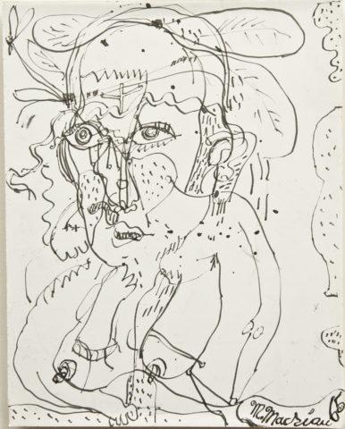 3_Michel Macréau, «Visage», 1965, encre de Chine sur papier, 27,5 x 21,5 cm