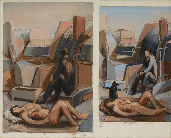 1961-1962_Jean Hélion, «Duos pour les Toits», 1961-62, acrylique sur toile, 65 x 81 cm