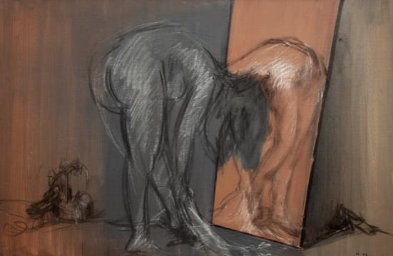Tête à tête, 1973, huile dégraissée, fusain, encre de Chine et pastel sur toile, 60 x 92 cm