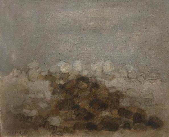 """Zoran Music, """"Paysage rocheux"""", 1980,  huile sur toile, 32,5 x 41 cm"""