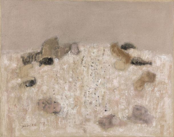 Zoran Music, paysage rocheux, 1977, acrylique sur toile, 73 x 92 cm