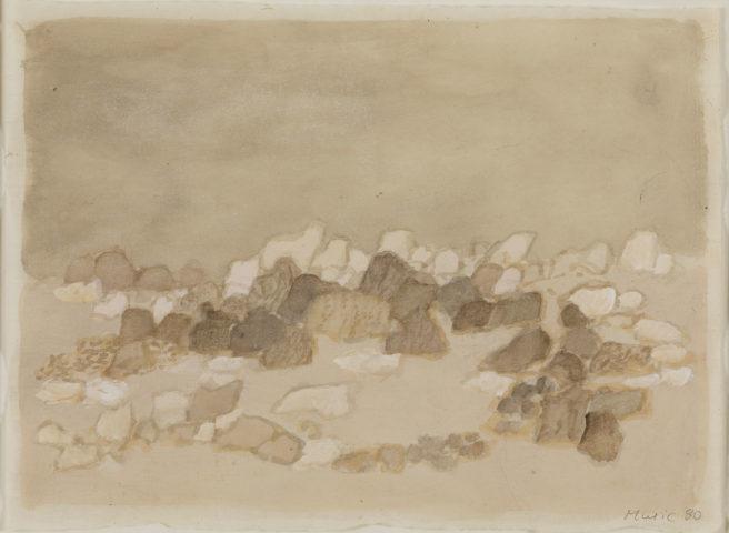 Zoran Music, paysage rocheux, 1980, aquarelle sur papier, 22 x 30 cm